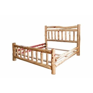 Rustic Red Cedar Log Double Top Rail Bed -Queen Size-Amish Made in the USA