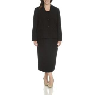 Giovanna Signature Women's Plus Size Notch Collar 2-Piece Skirt Suit