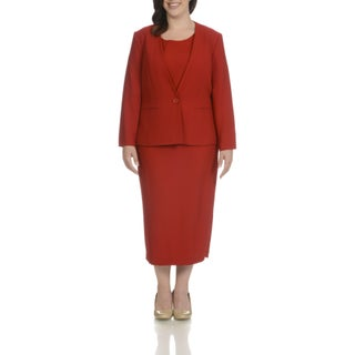 Giovanna Signature Women's Polyester Plus-size Collarless 3-piece Skirt Suit (2 options available)