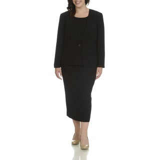 Giovanna Signature Women's Polyester Plus-size Collarless 3-piece Skirt Suit