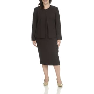 Giovanna Signature Women's Brown Polyester Plus-size Pleated Collarless 3-pierce Skirt Suit