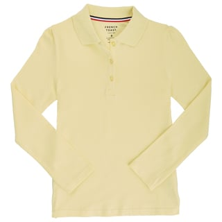 French Toast Girl's Cotton and Spandex Long-sleeve Stretch Pique Polo