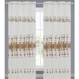 Silvana by Artistic Multicolored Rod Pocket Window Curtain Panel with Attached Valance