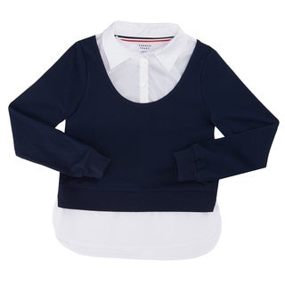 French Toast Girls' Long-sleeved Ribbed Twofer