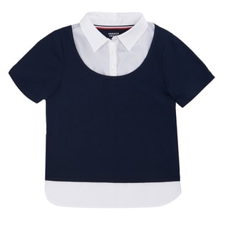 French Toast Girls' Short-sleeve Twofer Blouse