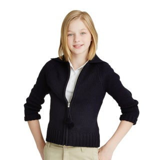 French Toast Girls Pom-Pom Zip-up Sweater