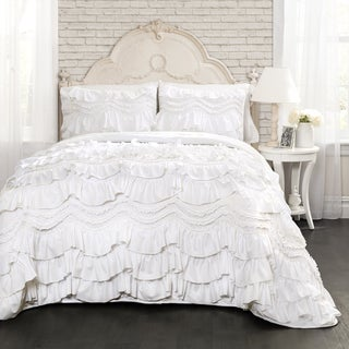Maison Rouge Gwyneth White Ruffled Trim 3-piece Quilt Set