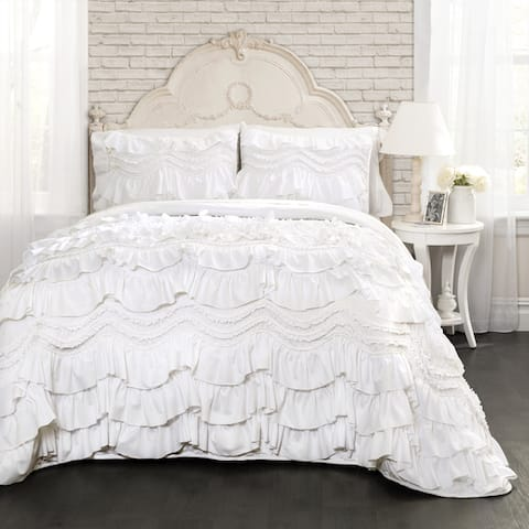 The Gray Barn Hallelujah Acres White Ruffled Trim 3-piece Quilt Set