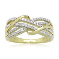 10k Yellow Gold 1/3ct TDW Round Diamond Multi-Row Crossover Ring