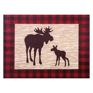 Trend Lab 'Northwoods Moose' Tan and Red Unframed Canvas Wall Art