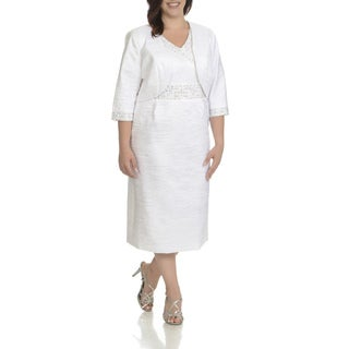 Giovanna Signature Women's Polyester Plus-size Embellished 3/4-sleeve 2-piece Dress