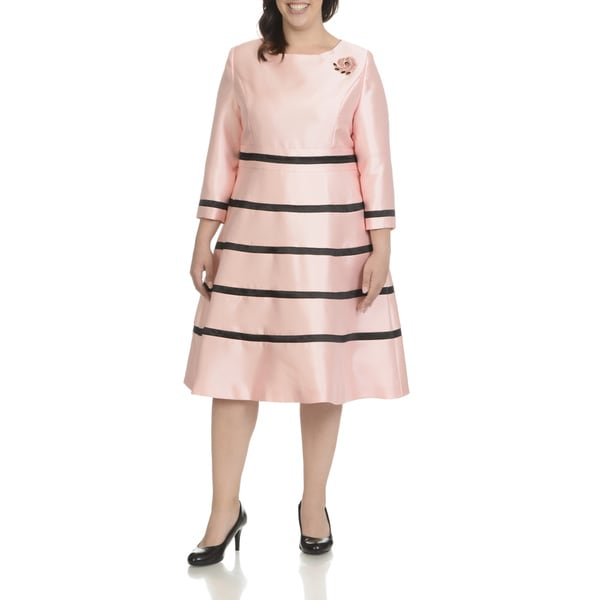 e7e819bdcd5 Giovanna Signature Women  x27 s Striped Plus-size Classic Embellished  Broach Dress