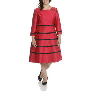 Giovanna Signature Women's Striped Plus-size Classic Embellished Broach Dress (More options available)
