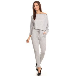 Women's Solid Grey Polyester/Rayon/Spandex Jumpsuit