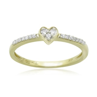 10k Yellow Gold 1/10ct TDW Round Diamond Heart Promise Ring
