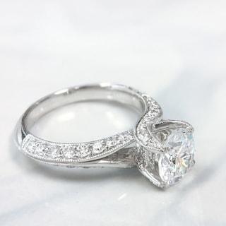 Lihara and Co. 18K White Gold 0.75ct TDW Semi-Mount Diamond Engagement Ring (G-H, VS1-VS2)