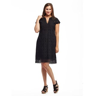 La Cera Women's Cotton Cap Sleeve Eyelet Dress