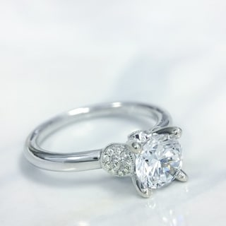 Lihara and Co. 18K White Gold 0.08ct TDW Semi-Mount Diamond Engagement Ring (G-H, VS1-VS2)