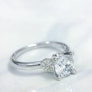 Lihara and Co. 18K White Gold 0.08ct TDW Semi-Mount Diamond Engagement Ring