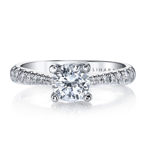 Lihara and Co. 18K White Gold and 0.38ct TDW Semi-Mount Diamond Engagement Ring - White G-H