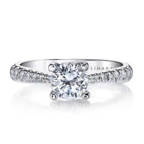 Lihara and Co. 18K White Gold and 2/5ct TDW Semi-Mount Diamond Engagement Ring