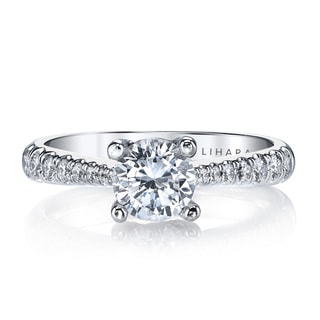 Lihara and Co. 18K White Gold and 0.38ct TDW Semi-Mount Diamond Engagement Ring