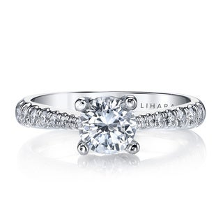 Lihara and Co. 18K White Gold and 0.38ct TDW Semi-Mount Diamond Engagement Ring (G-H, VS1-VS2)