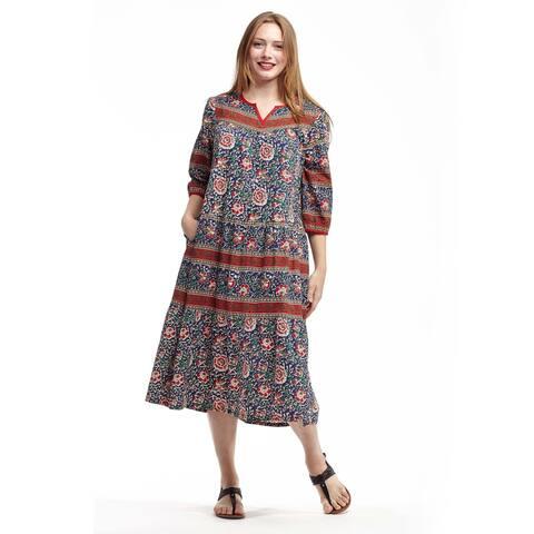 La Cera Women's Multicolor Cotton 3/4-sleeve Lounger