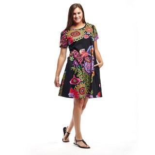 La Cera Women's Cotton Knit Short-sleeved Dress