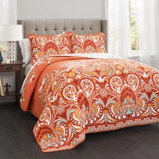 Lush Decor Clara Cotton Orange 3 Piece Quilt Set