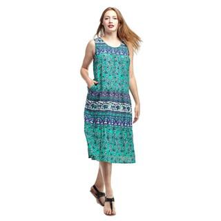 La Cera Women's Cotton Sleeveless Tier Sundress