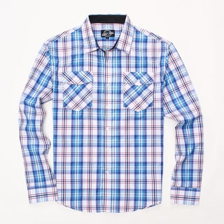 Something Strong Men's Long Sleeve Plaid Shirt in Red/White