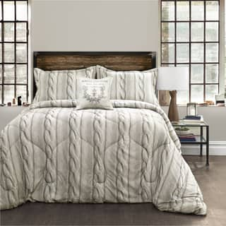 Lush Decor Grey Screen Printed Cable Knit 4 Piece Comforter Set