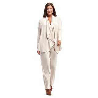La Cera Women's Cardigan Top with Wide Leg Pant