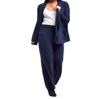 La Cera Women's Plus Size Cardigan Top with Wide Leg Pants