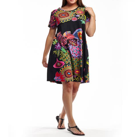 d82e5dde269 La Cera Women's Black/Multicolor Cotton Plus-size Short-sleeved Knit Dress