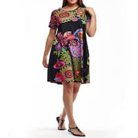 La Cera Women's Black/Multicolor Cotton Plus-size Short-sleeved Knit Dress