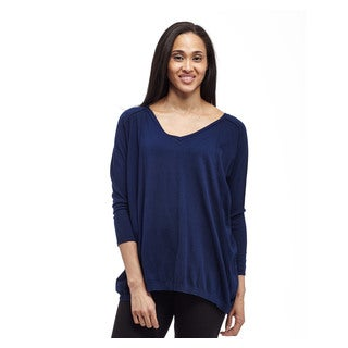 La Cera Women's Navy Blue Cotton 3/4 Sleeve V-neck Pullover