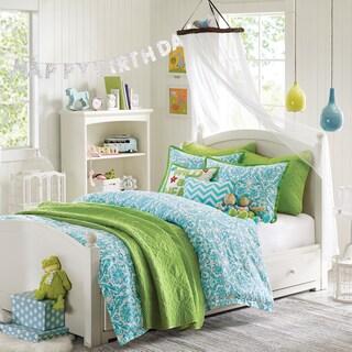 Hampton Hill Abigail Blue Cotton Printed Full/Queen 5-piece Comforter Set