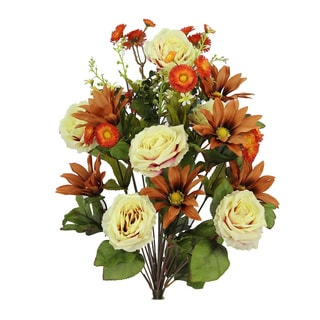 Artificial Large Daisy and Rose Mixed Flowers Bush (case of 24)