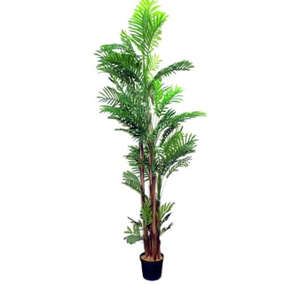 Green 7-foot Artificial Areca Palm Tree Plant in Plastic Pot