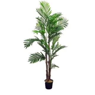 Admired By Nature 6-foot Artificial Areca Palm Tree Plant in Plastic Pot