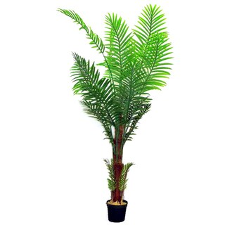 Green 7-foot Artificial Paradise Palm Tree Plant in Plastic Pot