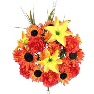 36 Stems Lily, Peony, Sunflower, Daisy, Mum Greenery With Foliage Mixed Flowers Bush