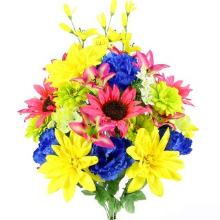 36 Stems Artificial New Dahlia, Sunflower, Peony, Hydrangea Mixed Flower Bush with Greenery