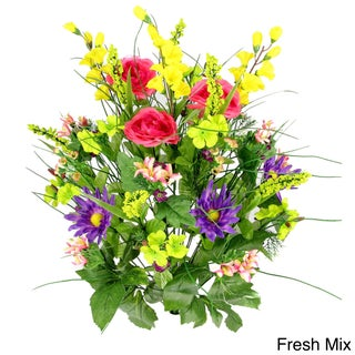 Artificial Silk Dahlia, Morning Glory, and Ranunculus 30-stem Mixed Bush (More options available)