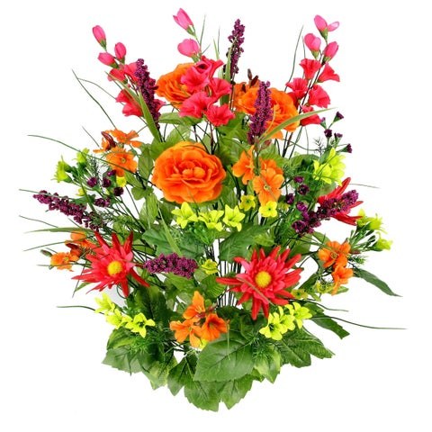 Admired by Nature Artificial Silk Dahlia, Morning Glory, and Ranunculus 30-stem Mixed Bush Plant