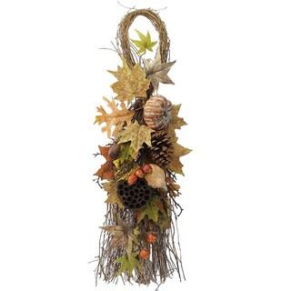 Artifical Lotus Pod, Pumpkins, Pine Cone, Maple Leaves, and Berries 35-inch Fall Festive Harvest Display Teardrop