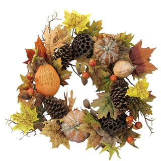 Admired by Nature Fall Festive Harvest 24-inch Lotus Pod, Pumpkins, Pine Cones, Maple Leaves, and Berries Display Wreath