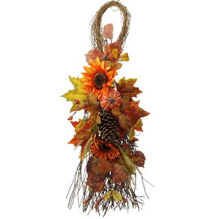 Artificial Festive Harvest 36-inch Display Teardrop with Sunflowers, Pumpkins, Pine Cone, Maple Leaves, and Wheat